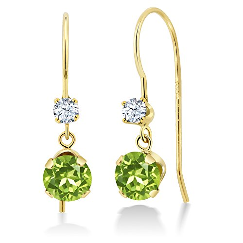1.10 Ct Round Green Peridot White Created Sapphire - 14k Gold Peridot Earrings