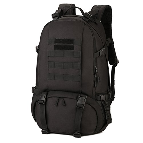 Huntvp 40L Military Backpack Rucksack Gear Tactical Assault Pack for Camping Hunting Working School Trekking Travel with Shoe Storage Compartment-Black