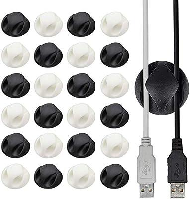 24 Clips para Cables de Casa y Oficina – Doble Canal – Accesorio ...
