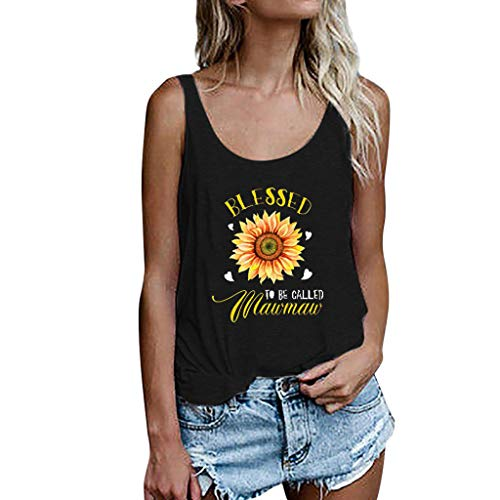 Toponly Sunflower Print Comfortable Tank Tops Sweet Simple Yoga Woman Tops Sports Racerback Elastic Sleeveless for Fitness Gym Plus Size