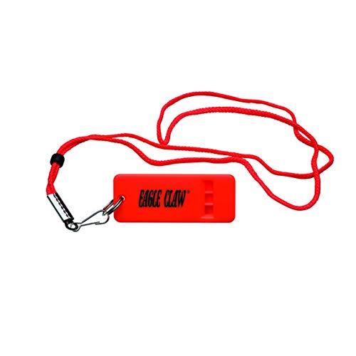 EAGLE CLAW Boat Whistle Flat with Lanyard, Fluorescent Orange