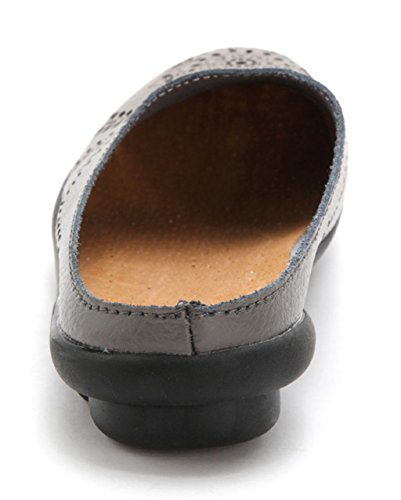 Clogs Wallking Slipper Mules on Women's Shoes 01 Leather Flats Slip Labato Grey 8BYxqf5