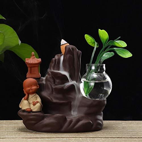 YURASIKU Backflow Incense Burner Holder Ceramic Little Monk Small Buddha Waterfall Aromatherapy Censer Creatives Home Decor
