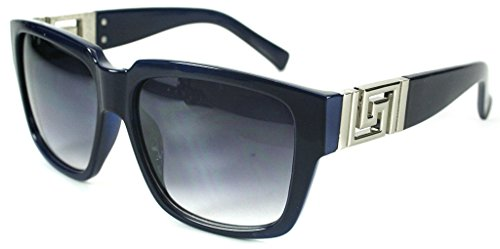 Georgio Caponi Greek Key Classic Square Hip Hop Sunglasses (Gold & Navy Blue, - Sunglasses Navy Blue