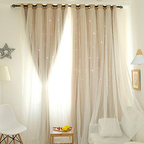 Star Cut Out Curtains for Living Room Girls Bedroom Kitchen Lace Beige Blackout Curtains Sheers Windows Shower Tulle Treatment Voile Valance Drapes 1 PC (Beige) ()