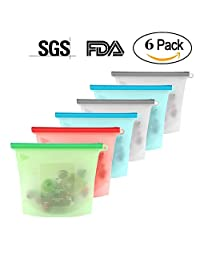 6 Pieces Food Storage Bags, 23cm X 17.5cm, BPA Free Silicone, Heat/Cold Resistant, Reusable & Recyclable for Fruit Vegetable Meat Milk, FDA SGS Approved