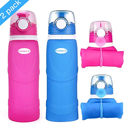 Farielyn-X 2 Pack Collapsible Water Bottle 26oz / 750ml Medical Grade Silicone, BPA Free, Leak Proof with Roll Up Foldable Features for Sports, Outdoor & Indoor Water Bottle
