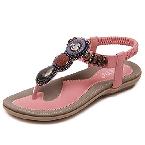 Women's Summer Bohemian Beaded Ankle Walking Strap Sandals Size 6 7 8 9 Casual Flip Flops Ladies Beach Sexy Flats Shoes (10 B(M) US, Pink) - Beaded Pink Sandals
