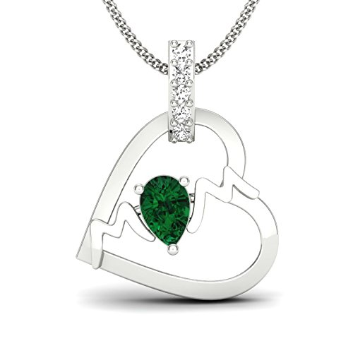 Perrian 18KT White Gold, Diamond and Emerald Pendant for Women
