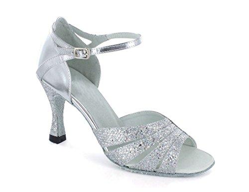 Jazz Minitoo latino Samba de Elegante plateadas Tango correas Rumba de Correas Vintage Hebilla baile Sandalias pUpqZw0