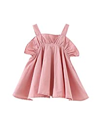 ZEFOTIM Baby Girls Cute Dress,Toddler Kids Baby Girl Casual Ruffled Solid Clothes Princess Party Strap Dress 12-24M 2-6Y