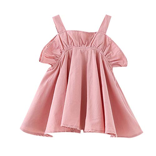 MALLOOM Toddler Kids Baby Girl Casual Ruffled Solid Clothes Princess Party Strap Dress Pink