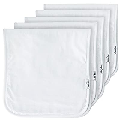 """5-Pack Baby Burp Cloths, Large 21""""x10"""", Triple Layer, 100% Organic Cotton, Thick, Soft and Absorbent Towels, Plain White Burping Rags for Newborns, Baby Shower Gift for Boys and Girls by KiddyStar"""