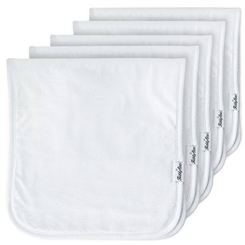 Discover Bargain 5-Pack Baby Burp Cloths, Large 21″x10″, Triple Layer, 100% Organic Cotton, Thick, Soft and Absorbent Towels, Plain White Burping Rags for Newborns, Baby Shower Gift for Boys and Girls by KiddyStar