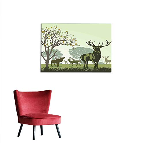 kungfu Decoration Poster Wall Decor Antlers Decor,Deer and Wildlife in Park World Natural Heritage Forest Areas Reindeer Wall Poster W35.4 x L31.5 - Natural Stick Frame Coco