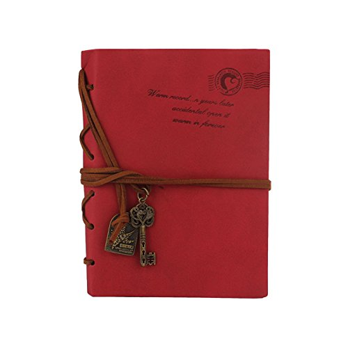Leather Notebook, Paymenow Vintage String Retro Journal Writing Diary Bound Note book (Red)