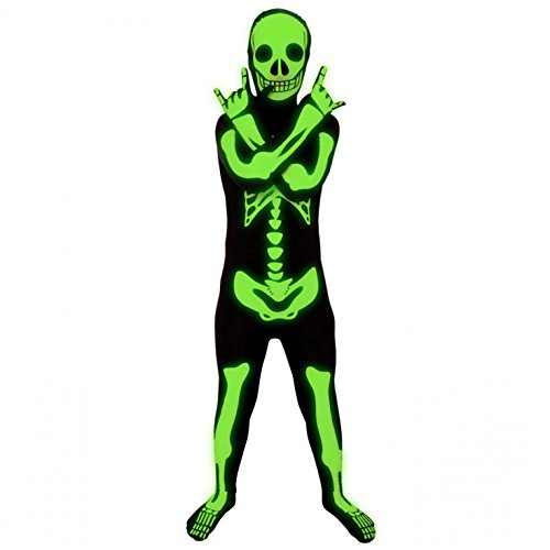 Boys Skeleton Halloween Costumes (Morphsuits Glow In The Dark Skeleton Kids Halloween Costume - Large)