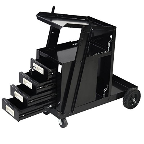 Black Universal Welding Cart Storage Plasma Cutter w/ 4 Drawer by FDInspiration