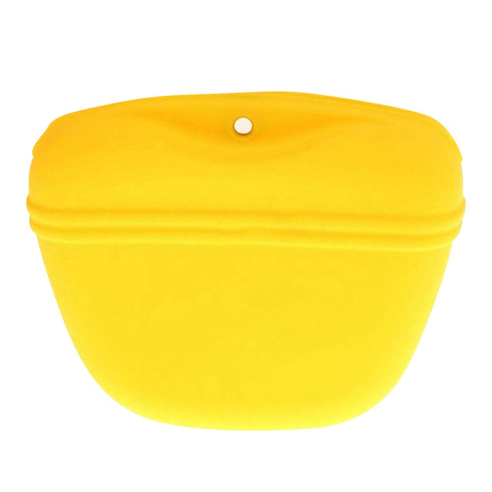 CWH&WEN Pet Silicone Dog Portable Magnetic Dog Treat Waist Bags, Outdoor Dog Training Treat Bag, Silicone Dog Training Bag, Easy to Use, Easy to Clean, Lightweight and Portable,Yellow by CWH&WEN