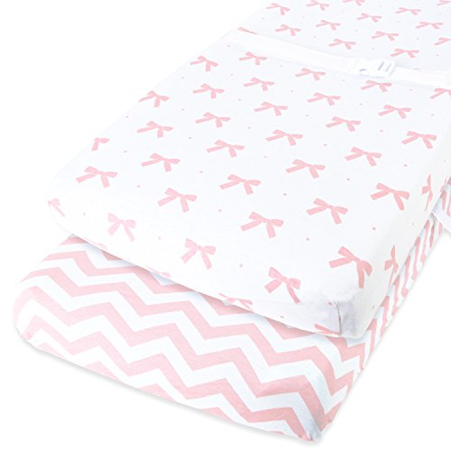Pink Changing Table - Cuddly Cubs Diaper Changing Table Pad Cover Set For Baby Girl | Soft & Breathable 100% Jersey Cotton | Adorable Unisex Patterns & Fitted Elastic Design | Cute Nursery & Cradle Bedding Sheets 2-Pack