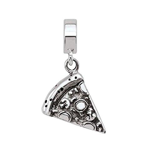 Persona Sterling Silver Gluten-Free Pizza Charm fits Pandora, Troll & Chamilia European Charm Bracelets (Charm Chamilia Fits Pandora Troll)