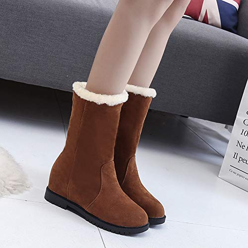 Boot Booties Heel Brown Wedge Shoes Winter Snow Suede 3 Slouch Mid Warm Ladies Fur Flat Boots Women's Ankle Red Black Lined Hidden 6 Brown AP6xgI6w