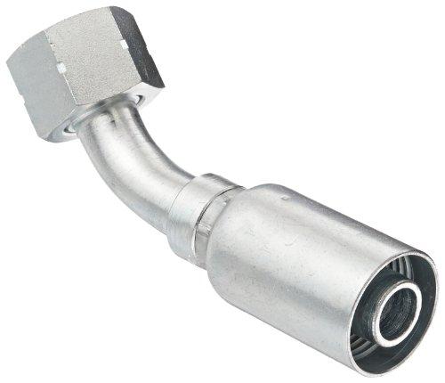 EATON Weatherhead Coll-O-Crimp 12U-L72 45 Degree Female Swivel Tube Elbow Fitting, Low Carbon Steel, 3/4