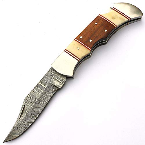 Damascus Steel Back Lock Folding Pocket knife Comes With Leather Sheath DW4065