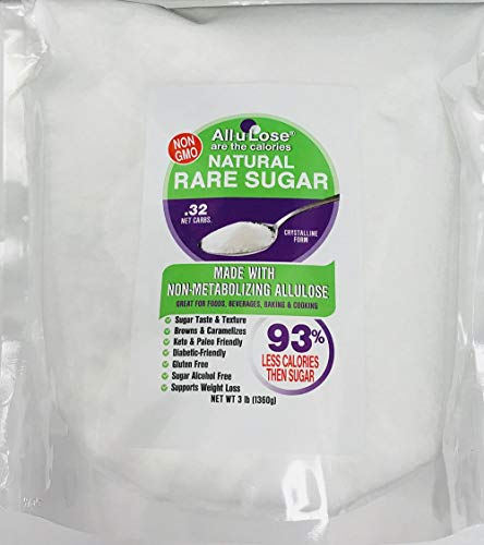ALLULOSE Natural Rare Sugar, 3 lb. Low Carb & Calorie Non-GMO Crystalline, Keto & Diabetic FriendlyLow Carb