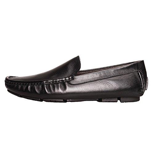 Santimon Mens Comfort Genuine Leather Slip-on Moccasins Loafer Doug Shoes Black bgSqvW5