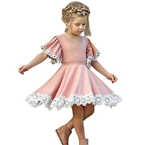 Feitong Kids Baby Girls Lace Floral Stitching Party