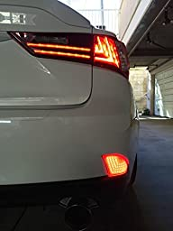 iJDMTOY (2) OEM Red Lens 69-SMD Red LED Bumper Reflectors For 2014-up Lexus IS250 IS350 IS-F As Brake Tail Turn Signal Lights