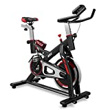AKONZA Indoor Stationary Exercise Bicycle with Shock Absorption Trainer LED Time Speed Distance + Water Bottle, Black/Red/White