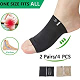 (4pcs)Arch support,Arch Compression Sock with Soft Gel Cushion*REUSEABLE* Plantar Fasciitis Sleeves Shoe Insert Insole,Arch Brace Great For Flat feet & Foot Pain Relief -Men & Women-Large M5-13/W7-15.