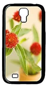 Samsung S4 Case Red flower PC Custom Samsung S4 Case Cover Black
