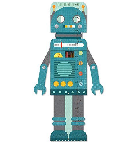 Petit Collage plegable tabla de crecimiento, azul Robot Wild & Wolf Ltd GC-BLUE ROBOT