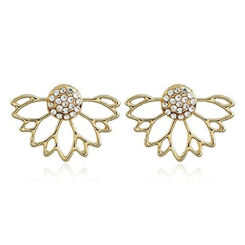 SUNSCSC Elegant Arrow Hand Lotus Dangle Ear Stud Earrings (Style 534)