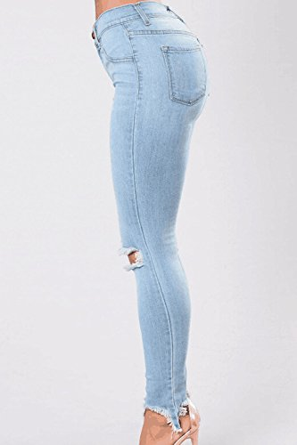 De Azul Pantalones Distressed Cintura Legging Casual Slim Vaqueros Alta Sevozimda Mujer La Pantalones Elástico q7PXOX1