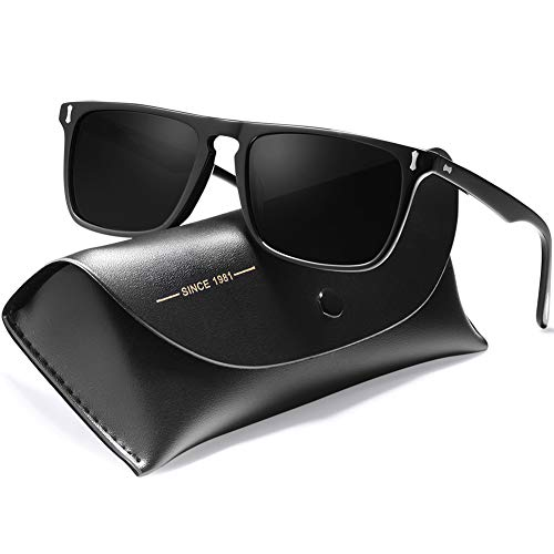 Carfia Rectangular Polarized Sunglasses for Men UV400 Protection Driving ()