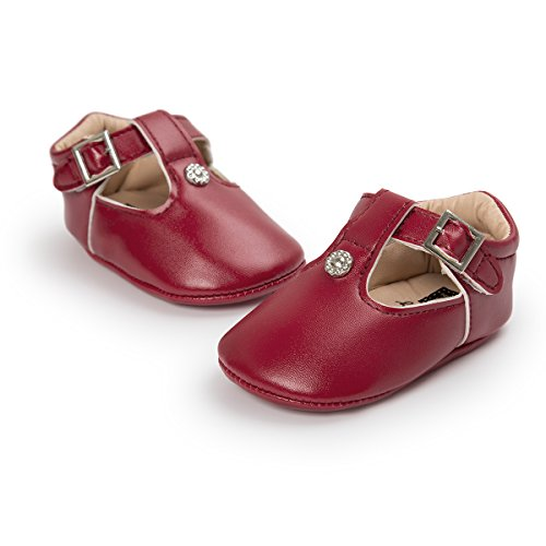 Meckior Fashion Infant Baby Boys Girls Soft Sole Sequin Dress Shoes Moccasin Prewalker Party Shoes (12-18 Months, A-red)