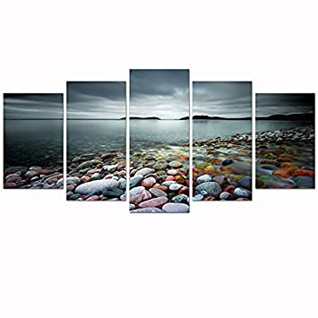 sechars – Peaceful Ocean Pictures Wall Art 5 Panels Colorful Stones Under Sunset Beach Landscape Canvas Prints Painting for Home Bedroom Decorations Framed Seascape Art Ready to Hang