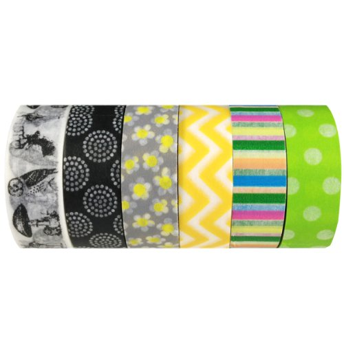 Wrapables Set of 6 Japanese Washi Masking Tape Collection Premium Value Pack, VPK8