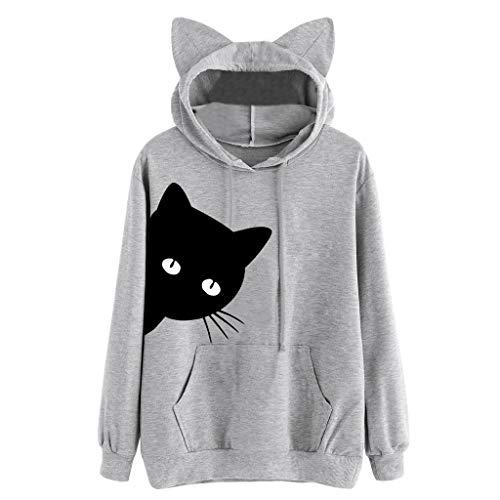 Aunimeifly Autumn Tops Womens Cat Print Hoodie Long Sleeve Sweatshirt Hooded Pullover Simple Blouse ()