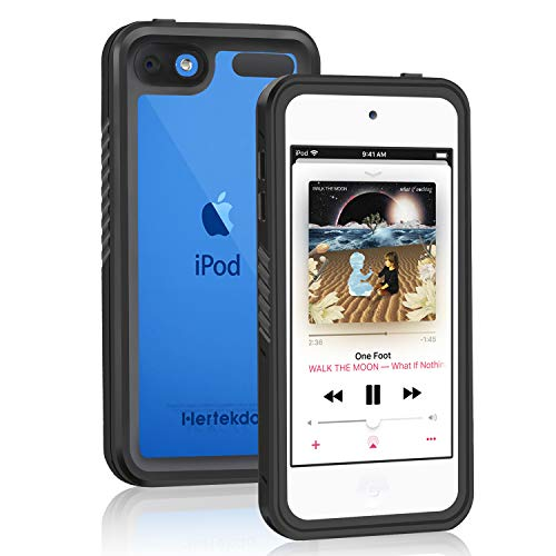 iPod Touch 7/6/5 Waterproof Case, Hertekdo IP68 Waterproof Case for iPod 5/iPod 6/iPod 7 Shockproof Dustproof Anti-Scratch Case with Kickstand iPod Touch 5th/6th/7th Generation Case Full-Body Protect