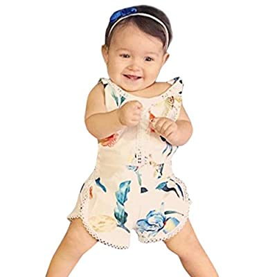NUWFOR Infant Sleeveless Romper Girl Boy Kid Baby Jumpsuit Floral Clothes Outfits White