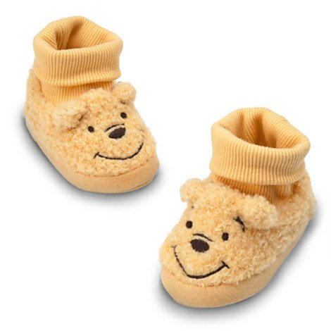 Disney Winnie the Pooh Plush Slippers for Baby,sock Top,gold,rubber Soles (0-6M)