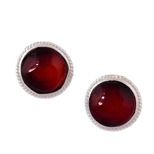 NOVICA Amber .925 Sterling Silver Stud Earrings, Flirty Dots' ()