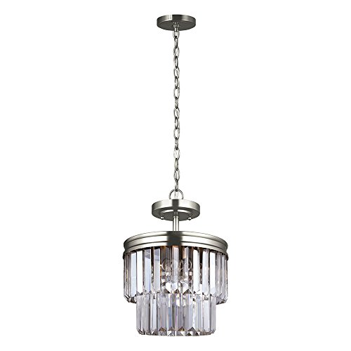 Sea Gull Lighting 7714002-965 Carondelet Two-Light Semi-Flush Convertible Pendant with Clear Beveled Glass Panels, Antique Brushed Nickel Finish