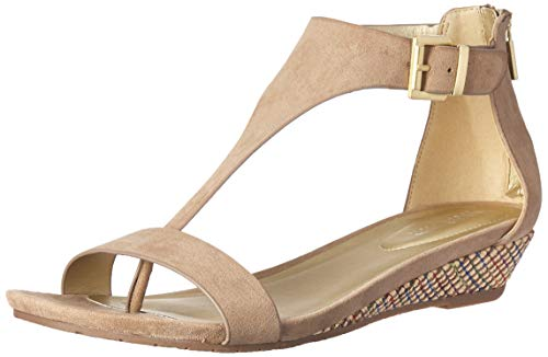 (Kenneth Cole REACTION Women's Great Gal T-Strap Low Wedge Sandal, café 10 M US)