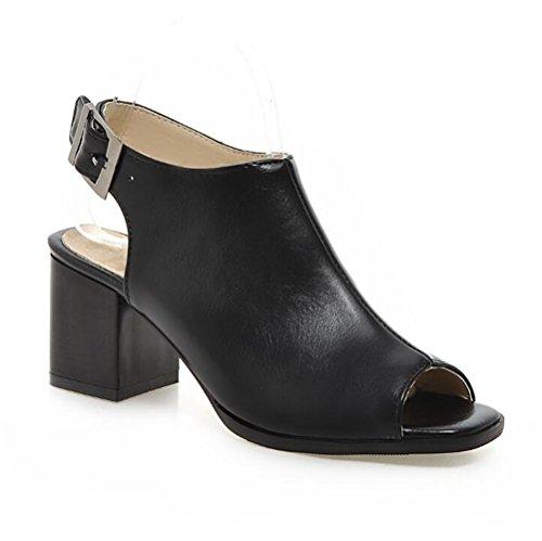de Primavera Negro de Verano de y Mujer Casual Sandalias Zapatos Cuadrado Tacón q1xUAnn4